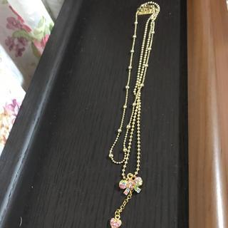 リズリサ(LIZ LISA)の♡LIZLISA リボンとハートの2連ゴールドネックレス♡(ネックレス)