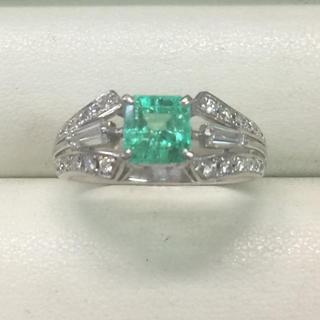 ★サイズ15号★プラチナPt900エメラルド&ダイヤモンドリング★1.15ct(リング(指輪))