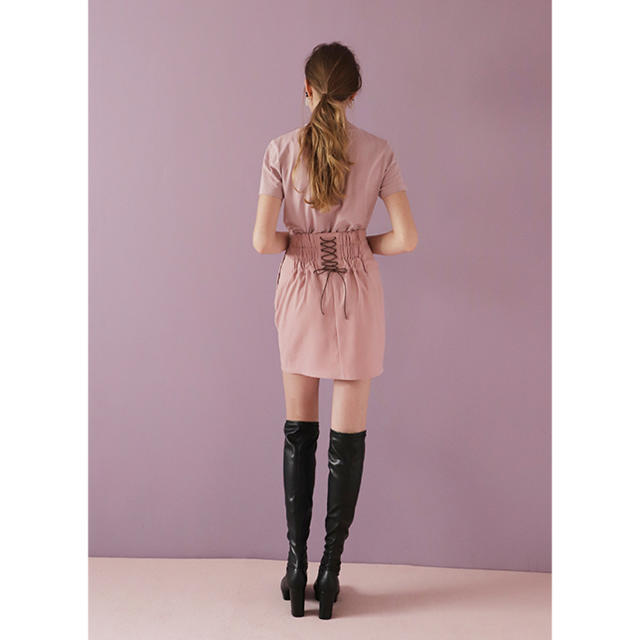 one after another NICE CLAUP(ワンアフターアナザーナイスクラップ)のSeemi レースアップミニスカート レディースのスカート(ミニスカート)の商品写真