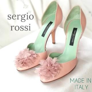 セルジオロッシ(Sergio Rossi)のセルジオロッシ/セパレート*フラワーポム*パンプス/34(22㎝)ピンクベージュ(ハイヒール/パンプス)