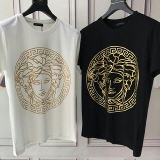 ヴェルサーチ(VERSACE)のVERSACE ロゴ 夏 メンズ  ロゴ  無地 半袖 Tシャツ 軽い(Tシャツ/カットソー(半袖/袖なし))