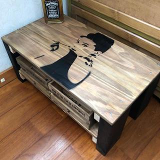木目調シンプルオードリーアンティークテーブル
