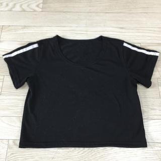 サイドライン ショート丈 Tシャツ 黒 ダンス 韓国(Tシャツ(半袖/袖なし))