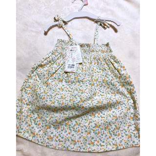フタフタ(futafuta)の新品 futafuta 女の子 黄色 小花柄 ワンピース 90cm 綿100%(ワンピース)