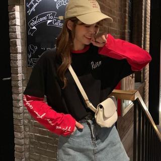 重ね着風 ビッグシルエットTシャツ ロゴT オーバーサイズTシャツ/m1296(Tシャツ(長袖/七分))