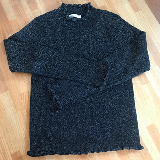 フリル襟 キラキラ ニット セーター ラメ ニット 韓国ファッション(ニット/セーター)