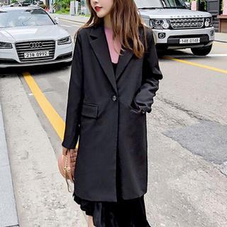 ゆったり ブラックジャケット☆セットアップ風にも♡韓国ファッション(テーラードジャケット)