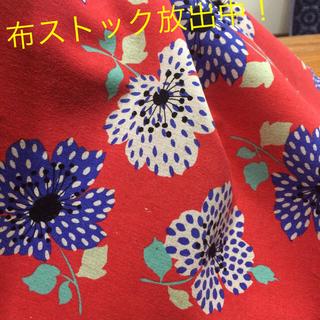 綿麻キャンバスセット 赤地の花柄、フラミンゴ、ひつじ(生地/糸)