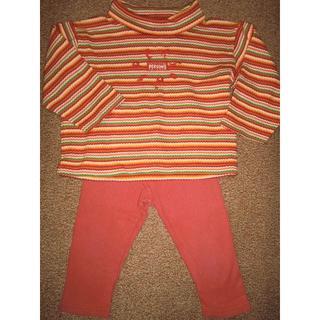 パーソンズキッズ(PERSON'S KIDS)のパーソンズキッズ 長袖カットソー90cm 朱色綿パンツ8-9分丈90cm セット(Tシャツ/カットソー)