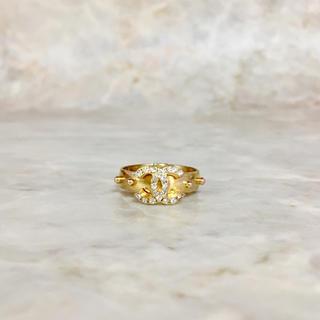 シャネル(CHANEL)の正規品 シャネル 指輪 ゴールド ココマーク ラインストーン フリー 金 リング(リング(指輪))