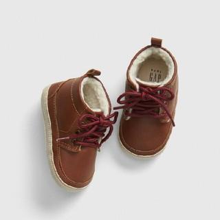 babyGAP - GAP baby レザー ボアライニング ブーツ ブラウン