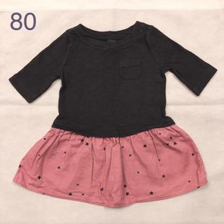 babyGAP - babyGAP 七分袖 スター柄ワンピース 女の子 80