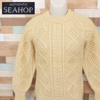 【SEAHOP】 美品 シーホップ アラン編み ホワイトニットセーター 厚手 M(ニット/セーター)