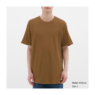 ジーユー(GU)のGU ジーユー ワッフルクルーネックT ブラウン XS(Tシャツ/カットソー(半袖/袖なし))