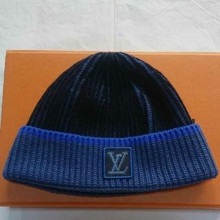 ルイヴィトン(LOUIS VUITTON)のLOUIS VUITTON ルイヴィトン ロゴ パッチ ウールニット帽 (ニット帽/ビーニー)
