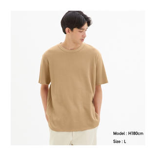 ジーユー(GU)のGU ワッフルクルーネックT ブラウン XS(Tシャツ/カットソー(半袖/袖なし))