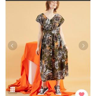 ZARA - Chaco closet 美品 ボタニカル花柄 ドロップスリーブ ワンピース