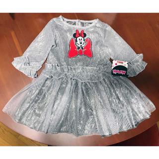 ディズニー(Disney)の新品 ★ 130cm ミニー ワンピース ドレス シルバー 6X(ワンピース)