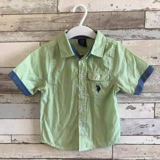 緑 ストライプ 半袖 シャツ(Tシャツ/カットソー)