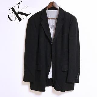 カルバンクライン(Calvin Klein)のCALVIN KLEIN ロング丈テーラードジャケット 黒 高級感 モード CK(テーラードジャケット)
