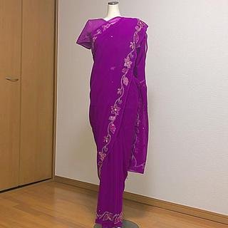 インドサリー 明るい鮮やかな紫 スパンコール刺繍 (衣装一式)