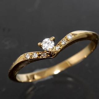 4℃ - 4℃ ダイヤモンド ゴールド リング 10号 K18YG 新品仕上済 箱