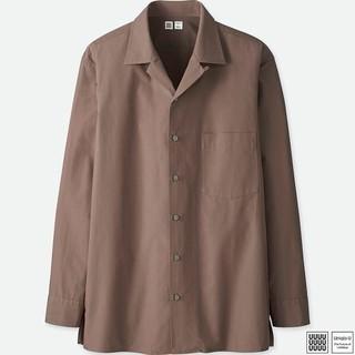 ユニクロ(UNIQLO)のユニクロ U オープンカラーシャツ パープル S 新品(シャツ)