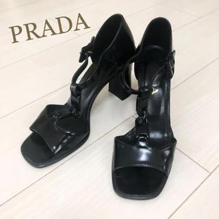 PRADA - PRADA プラダ 24.5 本革 イタリア製 ブラック パンプス ロゴ
