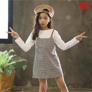 カジュアル可愛いキッズ秋服♡白Tシャツ重ね着風グレンチェックワンピース長袖90(ワンピース)