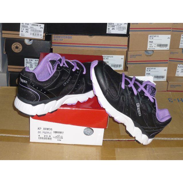 Kappa(カッパ)のkappa23.0cm3E幅広モデル黒/パープル超軽量36  rx レディースの靴/シューズ(スニーカー)の商品写真