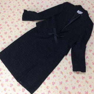 ジユウク(自由区)の自由区  スカートスーツ 38 W66 濃紺 ラメ ツイード 入学入園(スーツ)
