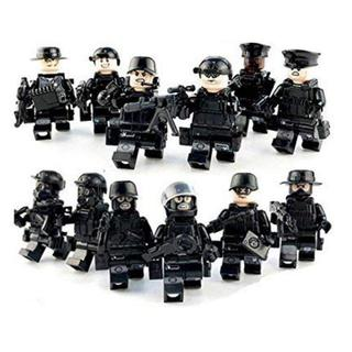 ミニフィグ 黒色特殊部隊 12体セット レゴ 互換 ミニフィギュア ブロック 人