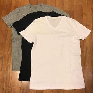 DIESEL - DIESEL ディーゼル VネックTシャツ L  ホワイト・ブラック・グレー