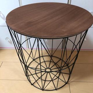 新品 アイアンウッドラウンド バスケット型 サイドテーブル