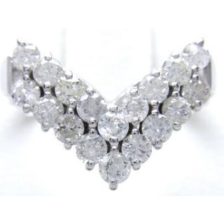 お値引き不可 PT900 合計1.00ct 天然 ダイヤ V字 リング(リング(指輪))