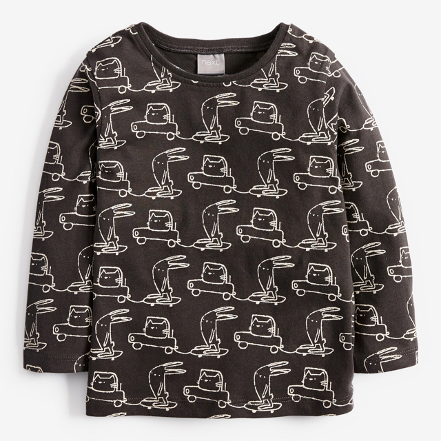 NEXT(ネクスト)の【新品】next チャコールバニー 長袖Tシャツ(ヤンガー) キッズ/ベビー/マタニティのベビー服(~85cm)(シャツ/カットソー)の商品写真