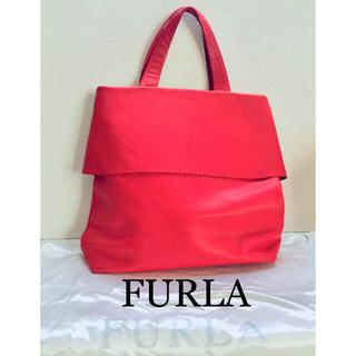 Furla - FURLA フルラ レッド ロゴ スエード×レザー リボン トートバッグ 保存袋