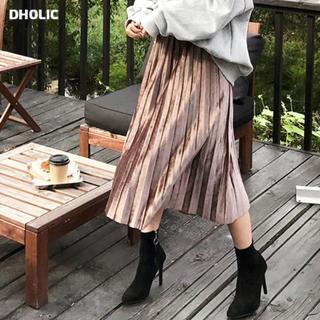 dholic - 【美品】dholic  ウエストストレッチベロアプリーツスカート
