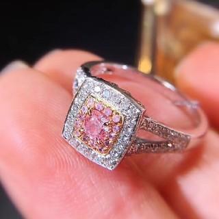 GIA♡スクエアーL.Pinkダイヤモンドリング(リング(指輪))