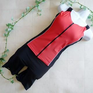 《赤×黒/15LLサイズ》フィットネス水着⑤前開き   (水着)