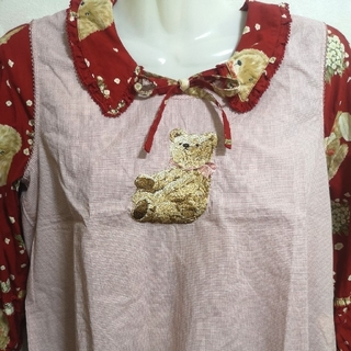 ピンクハウス(PINK HOUSE)のピンク ギンガム クマ くま タブリエ ブラウス 美品(カットソー(半袖/袖なし))