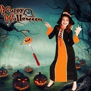 ハロウィン 女の子 衣装 可愛い 魔法使い 魔女 ロング 子供 キッズ M(衣装一式)