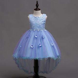 【大特価】★ 女の子 ブルー フラワー フォーマル レースドレス★ 120cm (ワンピース)