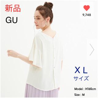 ジーユー(GU)の【新品】GU★バックボタンブラウス(半袖)2way★オフホワイト X Lサイズ(シャツ/ブラウス(半袖/袖なし))