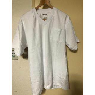 ムジルシリョウヒン(MUJI (無印良品))のプロタグ  アメリカ製 白Tシャツ 半袖  vネック Mサイズ ポケット付き(Tシャツ/カットソー(半袖/袖なし))