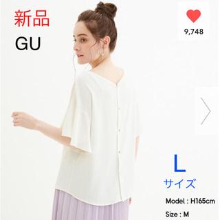 ジーユー(GU)の【新品】GU★バックボタンブラウス(半袖)2way★オフホワイト  Lサイズ(シャツ/ブラウス(半袖/袖なし))