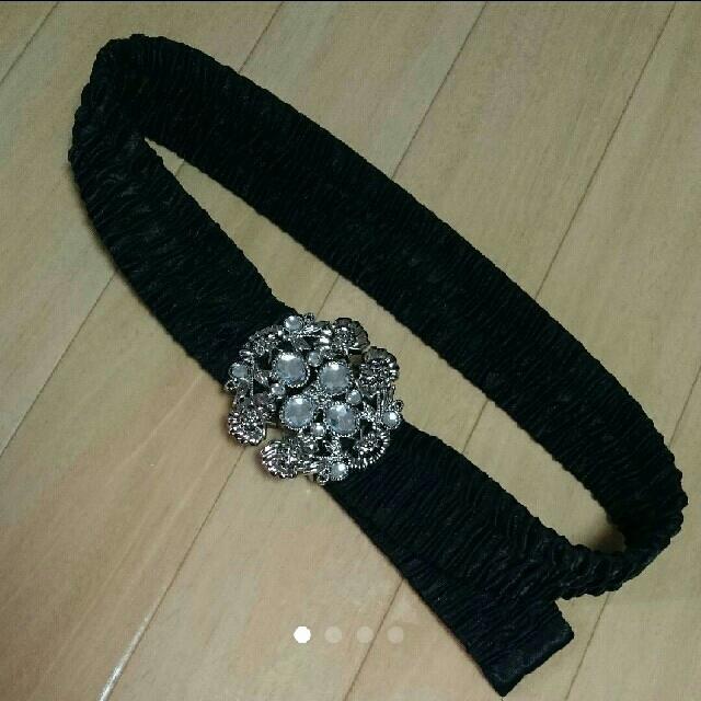axes femme(アクシーズファム)のベルト ビジュー 黒 レディースのファッション小物(ベルト)の商品写真