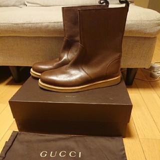 グッチ(Gucci)の新品 最高級 本物 GUCCI グッチ レザーブーツ サイズ7.5G 箱、布袋付(ブーツ)