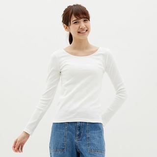 ジーユー(GU)の☆リブバレエネックT(長袖) GU ジーユー 白 ロンT 長袖Tシャツ 白T(Tシャツ(長袖/七分))