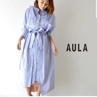 AULA AILA - 【美品】AULA ストライプ レイヤード シャツ ワンピース ブルー